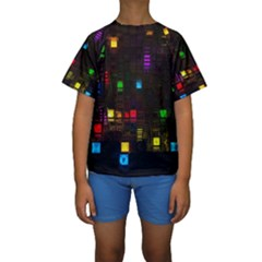 Abstract 3d Cg Digital Art Colors Cubes Square Shapes Pattern Dark Kids  Short Sleeve Swimwear