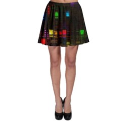 Abstract 3d Cg Digital Art Colors Cubes Square Shapes Pattern Dark Skater Skirt