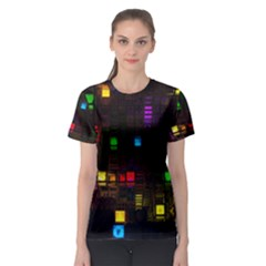 Abstract 3d Cg Digital Art Colors Cubes Square Shapes Pattern Dark Women s Sport Mesh Tee