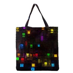Abstract 3d Cg Digital Art Colors Cubes Square Shapes Pattern Dark Grocery Tote Bag