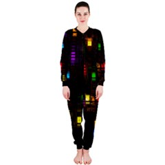 Abstract 3d Cg Digital Art Colors Cubes Square Shapes Pattern Dark OnePiece Jumpsuit (Ladies)