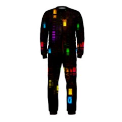 Abstract 3d Cg Digital Art Colors Cubes Square Shapes Pattern Dark OnePiece Jumpsuit (Kids)