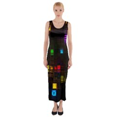 Abstract 3d Cg Digital Art Colors Cubes Square Shapes Pattern Dark Fitted Maxi Dress