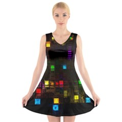 Abstract 3d Cg Digital Art Colors Cubes Square Shapes Pattern Dark V-Neck Sleeveless Skater Dress