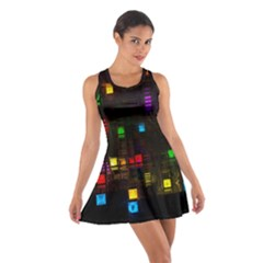 Abstract 3d Cg Digital Art Colors Cubes Square Shapes Pattern Dark Cotton Racerback Dress