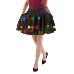 Abstract 3d Cg Digital Art Colors Cubes Square Shapes Pattern Dark A Line Pocket Skirt