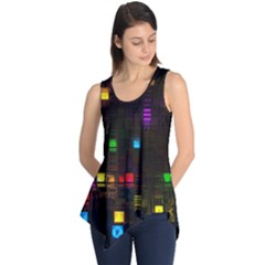 Abstract 3d Cg Digital Art Colors Cubes Square Shapes Pattern Dark Sleeveless Tunic
