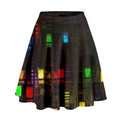Abstract 3d Cg Digital Art Colors Cubes Square Shapes Pattern Dark High Waist Skirt