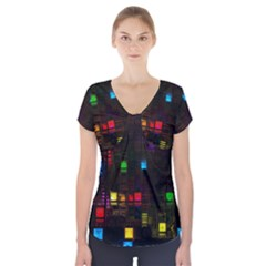 Abstract 3d Cg Digital Art Colors Cubes Square Shapes Pattern Dark Short Sleeve Front Detail Top