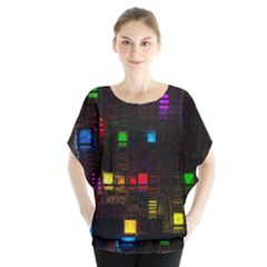 Abstract 3d Cg Digital Art Colors Cubes Square Shapes Pattern Dark Blouse