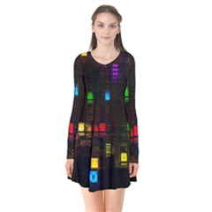 Abstract 3d Cg Digital Art Colors Cubes Square Shapes Pattern Dark Flare Dress