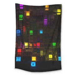 Abstract 3d Cg Digital Art Colors Cubes Square Shapes Pattern Dark Large Tapestry