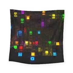 Abstract 3d Cg Digital Art Colors Cubes Square Shapes Pattern Dark Square Tapestry (Small)
