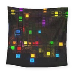 Abstract 3d Cg Digital Art Colors Cubes Square Shapes Pattern Dark Square Tapestry (Large)