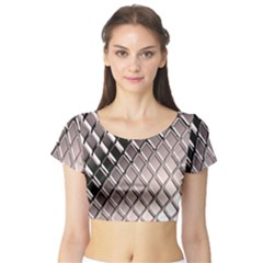 3d Abstract Pattern Short Sleeve Crop Top (tight Fit)
