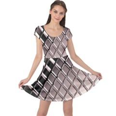 3d Abstract Pattern Cap Sleeve Dresses
