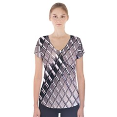 3d Abstract Pattern Short Sleeve Front Detail Top