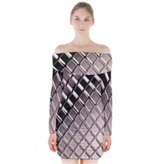 3d Abstract Pattern Long Sleeve Off Shoulder Dress