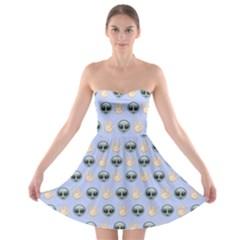 Alien Pattern Strapless Bra Top Dress