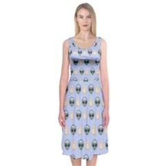 Alien Pattern Midi Sleeveless Dress