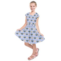 Alien Pattern Kids  Short Sleeve Dress