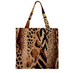 Animal Fabric Patterns Zipper Grocery Tote Bag