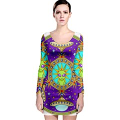Alien Mandala Long Sleeve Bodycon Dress