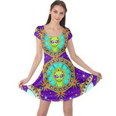 Alien Mandala Cap Sleeve Dresses