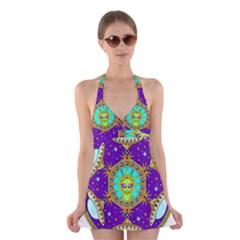 Alien Mandala Halter Swimsuit Dress