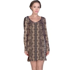 African Style Vector Pattern Long Sleeve Nightdress