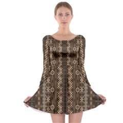 African Style Vector Pattern Long Sleeve Skater Dress