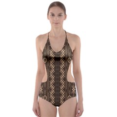 African Style Vector Pattern Cut-Out One Piece Swimsuit