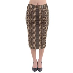 African Style Vector Pattern Midi Pencil Skirt