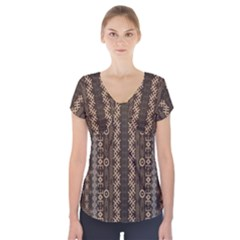 African Style Vector Pattern Short Sleeve Front Detail Top