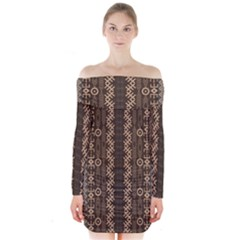 African Style Vector Pattern Long Sleeve Off Shoulder Dress