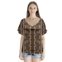 African Style Vector Pattern Flutter Sleeve Top