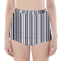 Barcode Pattern High-Waisted Bikini Bottoms