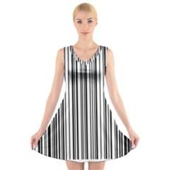 Barcode Pattern V Neck Sleeveless Skater Dress