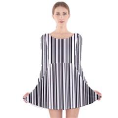 Barcode Pattern Long Sleeve Velvet Skater Dress