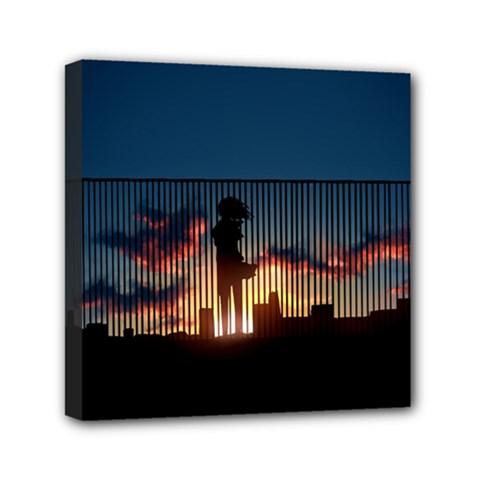 Art Sunset Anime Afternoon Mini Canvas 6  X 6