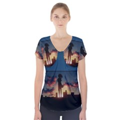Art Sunset Anime Afternoon Short Sleeve Front Detail Top