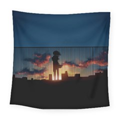 Art Sunset Anime Afternoon Square Tapestry (large)