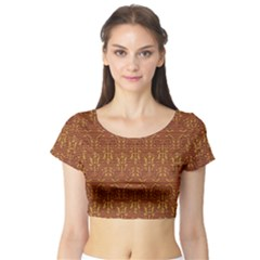 Art Abstract Pattern Short Sleeve Crop Top (tight Fit)