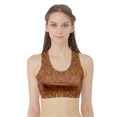 Art Abstract Pattern Sports Bra with Border