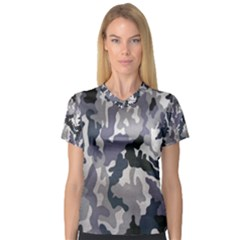 Army Camo Pattern Women s V-Neck Sport Mesh Tee