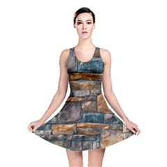 Brick Wall Pattern Reversible Skater Dress