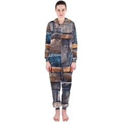 Brick Wall Pattern Hooded Jumpsuit (Ladies)
