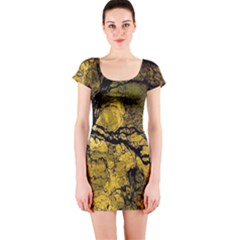 Colorful The Beautiful Of Traditional Art Indonesian Batik Pattern Short Sleeve Bodycon Dress
