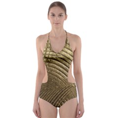Brushed Gold Cut-Out One Piece Swimsuit