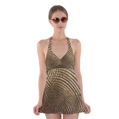Brushed Gold Halter Swimsuit Dress